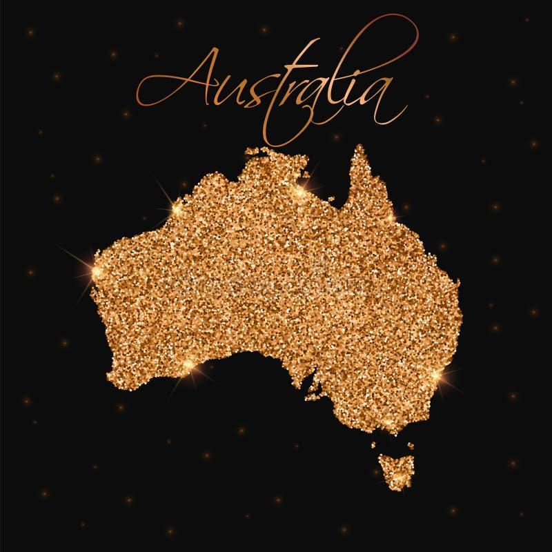 Den Australien översikten som fylls med guld-, blänker vektor illustrationer