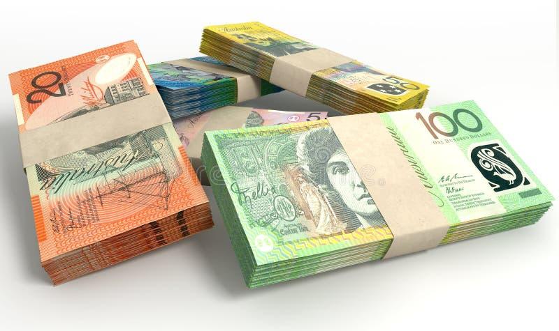 Den australiska dollaren noterar packebunten royaltyfri illustrationer