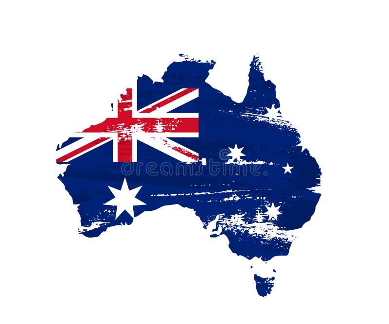 Den australiska flaggan på grungeöversikt av Australien isolerade på vit bakgrund också vektor för coreldrawillustration vektor illustrationer