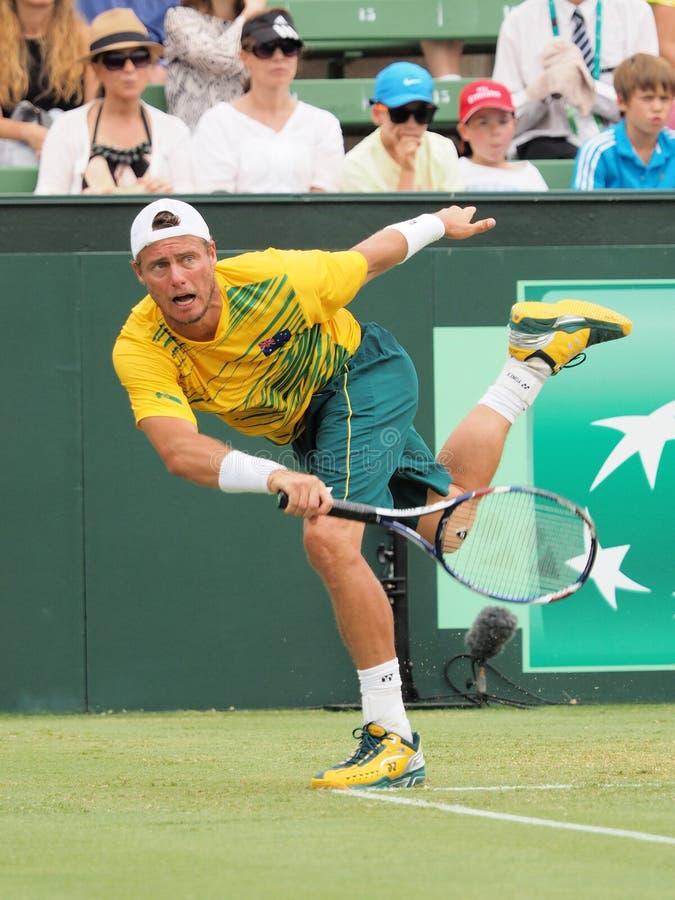 Den australiska tennisspelaren Llayton Hewitt under Davis Cup dubblerar Brian Brothers fotografering för bildbyråer