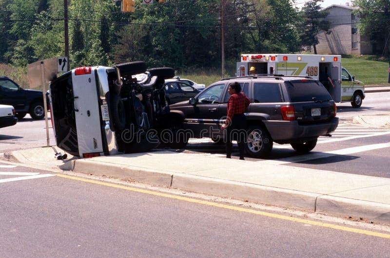 Den automatiska olyckan med inebilen valt fotografering för bildbyråer