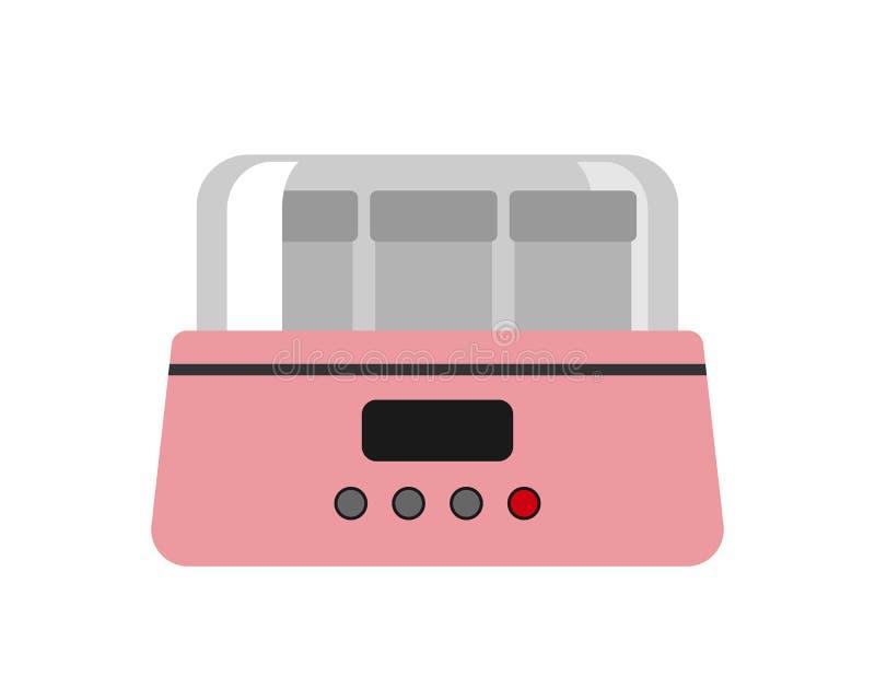 Den automatiska rosa yoghurttillverkaren som isoleras på den vita matlagningdishwaren för barn och, mjölkar mat för redskapet för stock illustrationer