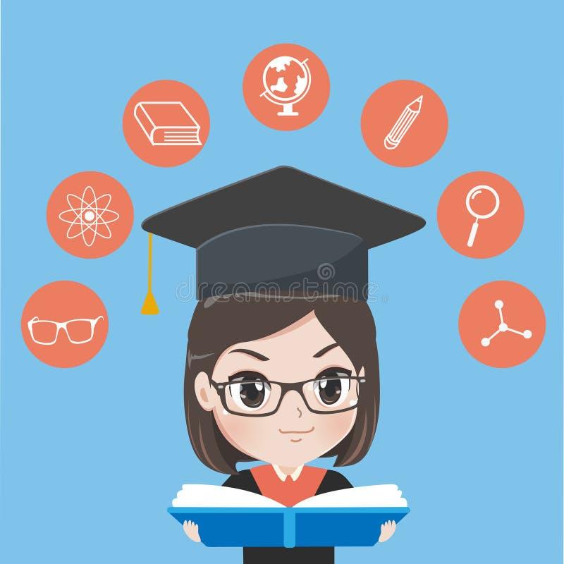 Den avlade examen flickan läste böcker för att vinna kunskap royaltyfri illustrationer
