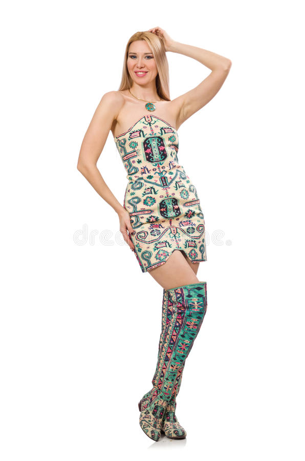 Den bärande klänningen för modell royaltyfria bilder