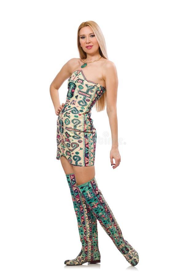 Den bärande klänningen för modell royaltyfri fotografi
