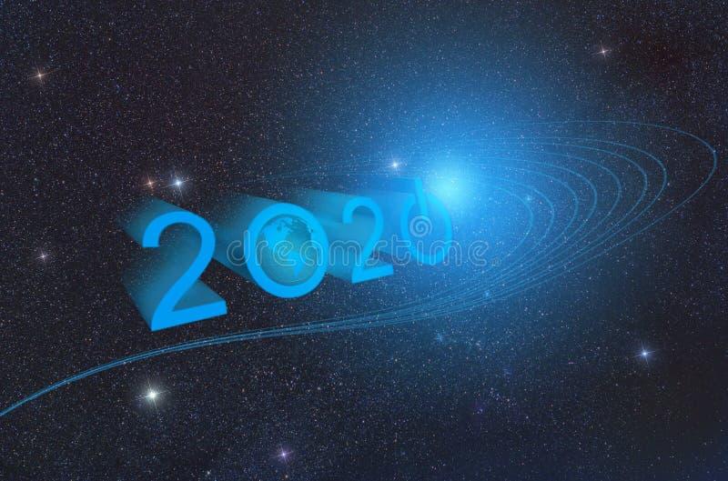 den bästa bakgrunden för designen i den teknologiska stilen början av 2020 symboliserar knappen av den nya eran av den royaltyfri illustrationer
