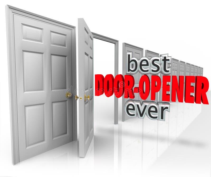 Den bästa dörröppnaren 3d uttrycker någonsin att öppna för kundförsäljningar vektor illustrationer