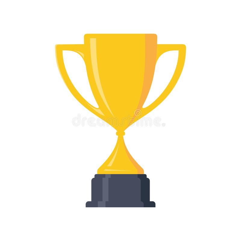Den bästa enkla utmärkelsen och segern för trofé för vinnare för mästarekopp planlägger beståndsdelen stock illustrationer