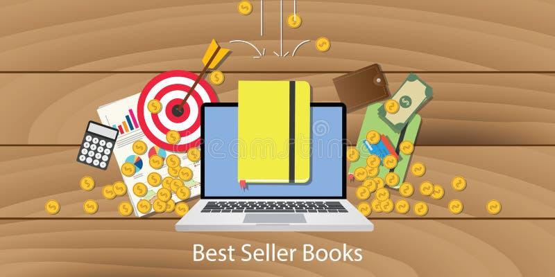 Den bästa säljaren bokar med diagrammet och pengar för bärbar datormålmål som faller från himmel stock illustrationer