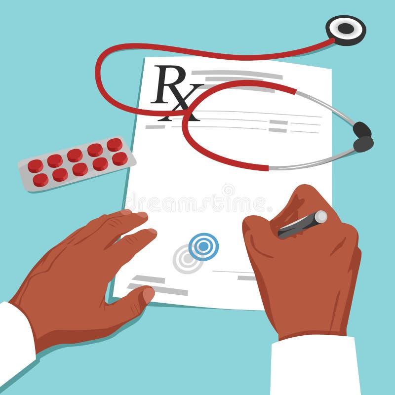 Den bästa sikten av afrikansk amerikandoktorn räcker handstilreceptet på papper Vård- och medicinskt begrepp vektor illustrationer