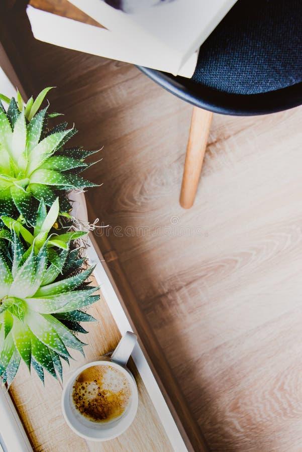 Den bästa sikten av böcker och tidskrifter lämnade på en stol, en kopp kaffe och suckulenta växter vid fönstret Begrepp av fritid royaltyfri bild