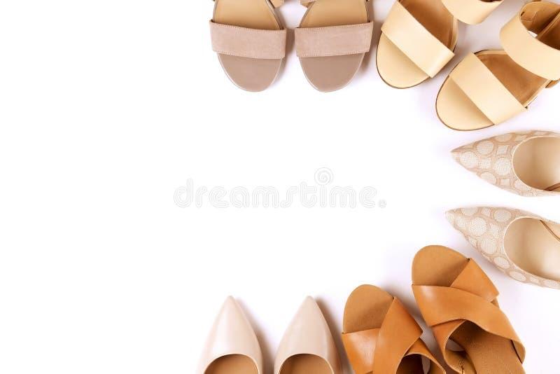 Den bästa sikten av det trendiga kvinnliga medlet heeled skor för läder för kvinna` s av pastellfärgade färger på häl/kilen för v royaltyfri fotografi