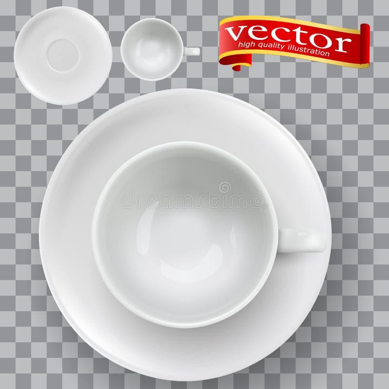 Den bästa sikten av ett realistiskt tomt tömmer koppen för kaffete royaltyfri illustrationer