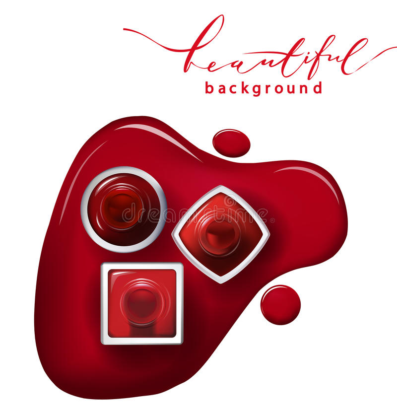 Den bästa sikten av rött spikar polermedel på vita bakgrundsskönhetsmedel och danar bakgrundsvektorn vektor illustrationer