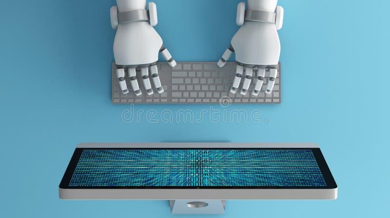 Den bästa sikten av roboten räcker genom att använda tangentbordet framme av en dator mo vektor illustrationer