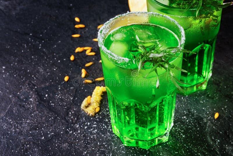 Den bästa sikten av två enorma exponeringsglas av icke-alkoholisten dricker med is- och dragonsidor på en svart bakgrund arkivbild