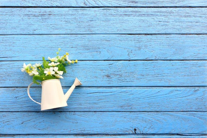 Den bästa sikten av den vita duschen som bevattnar kronbladet med många vit, fejkar blommainsidan på den blåa trätabellen, begrep royaltyfria bilder