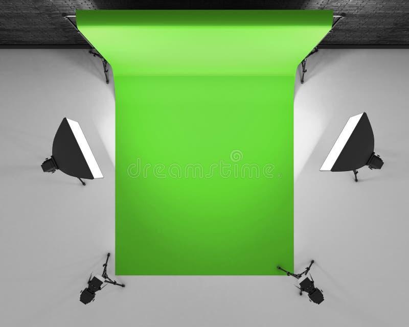 Den bästa sikten greenscreen studion med lightbox och softbox Filmdubb royaltyfri illustrationer