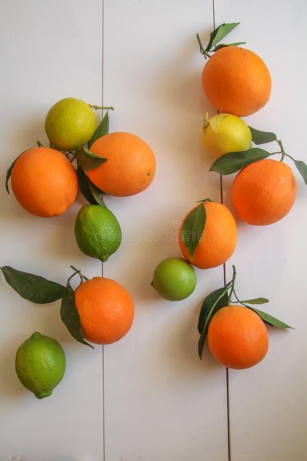 Den bästa sikten, lägger framlänges av hela apelsiner och citronfrukter med sidor mot lantlig vit bakgrund royaltyfri bild