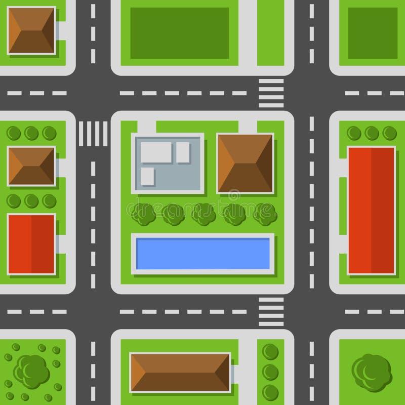 Den bästa staden beskådar Sömlös modell för stadöversikt vektor stock illustrationer