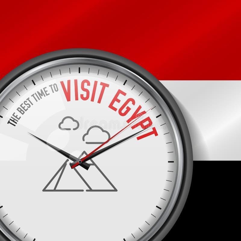 Den bästa Tiden för besöket Egypten Vektorklocka med slogan Egyptisk flaggabakgrund parallell watch Pyramider av den Giza symbole stock illustrationer