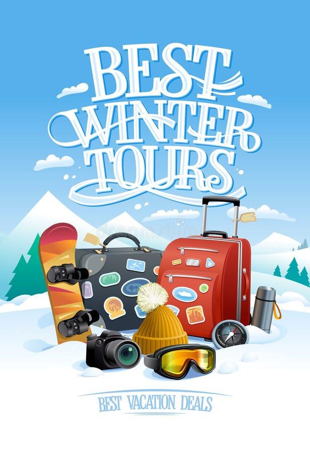 Den bästa vintern turnerar designbegreppet med två stora resväskor, snowboard, skidar skyddsglasögon, stock illustrationer