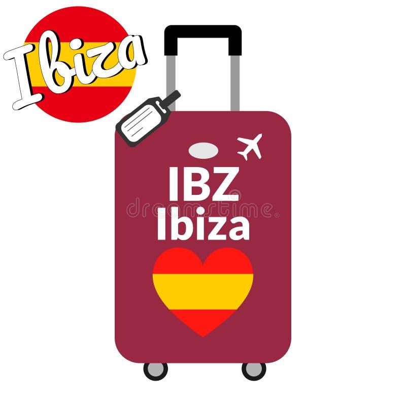 Den bagage- med flygplatsstationskoden IATA eller lägefilnamn- och destinationsstaden namnger Ibiza, IBZ Lopp till Spanien stock illustrationer