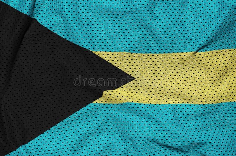 Den Bahamas flaggan skrivev ut på ett tyg för ingrepp för polyesternylonsportswear fotografering för bildbyråer