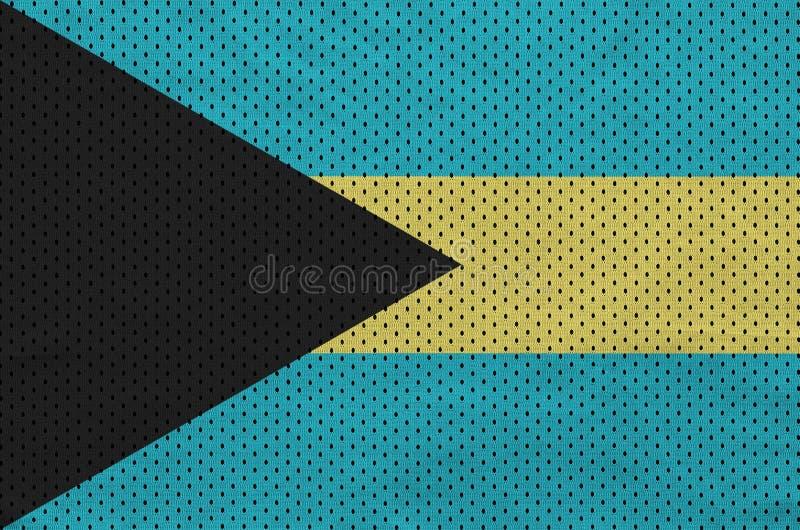 Den Bahamas flaggan skrivev ut på ett tyg för ingrepp för polyesternylonsportswear arkivbilder