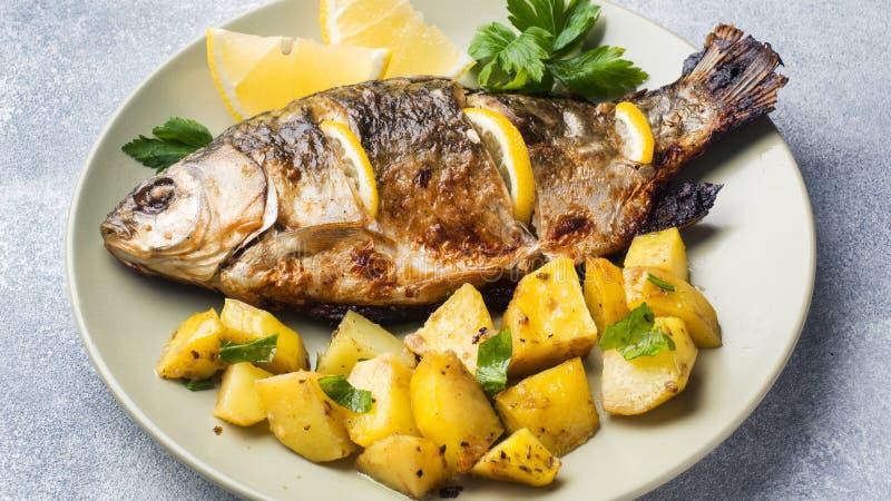Den bakade fisken kverulerar med citrongr?splaner och potatisar p? en platta fotografering för bildbyråer