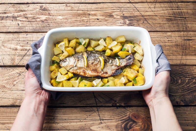 Den bakade fisken kverulerar med potatisar i en keramisk panna Lantlig stil arkivfoton