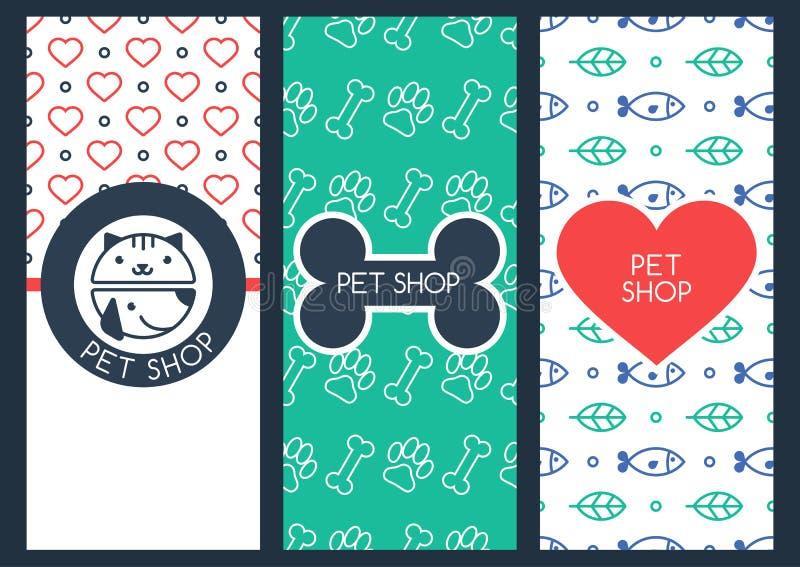 Den bakgrunds-, reklamblad- eller banermallen för älsklings- shoppar eller veterinär- royaltyfri illustrationer