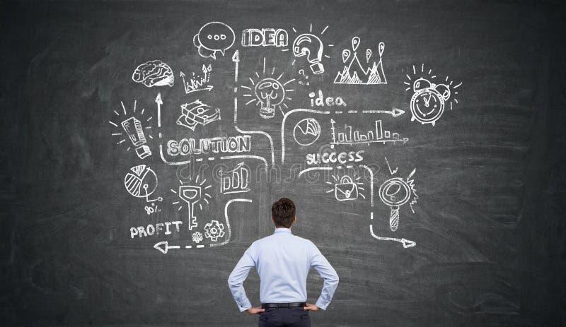 Den bakre sikten av en affärsman som ser en stor krita, skissar arkivbild