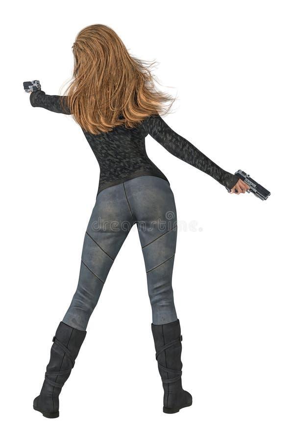 Den bakre sikten av en kvinna som rymmer två vapen i en skytte, poserar isolerat royaltyfri illustrationer