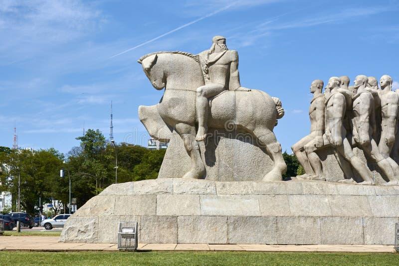 Den Bandeiras monumentet i ibirapuera parkerar, Sao Paulo, arkivbild