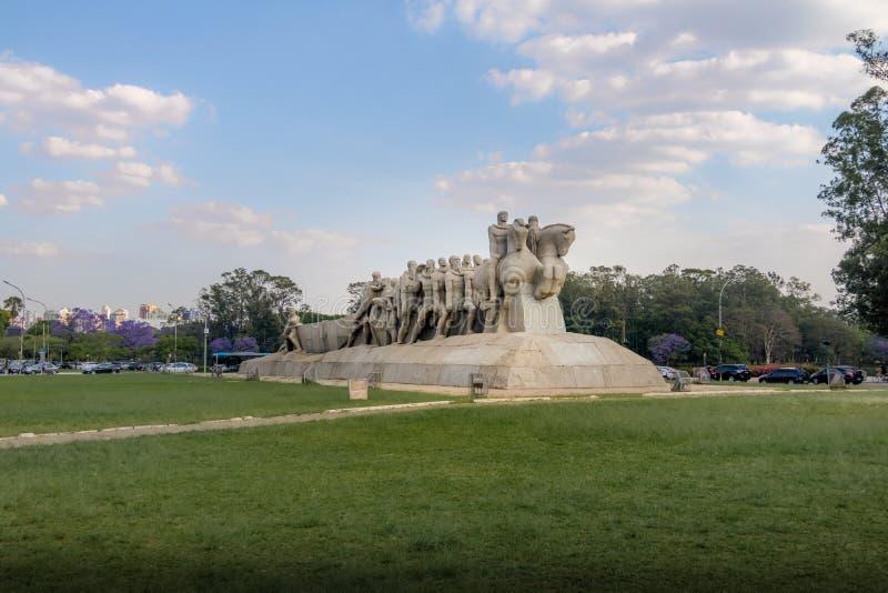 Den Bandeiras monumentet på Ibirapuera parkerar - Sao Paulo, Brasilien arkivbild