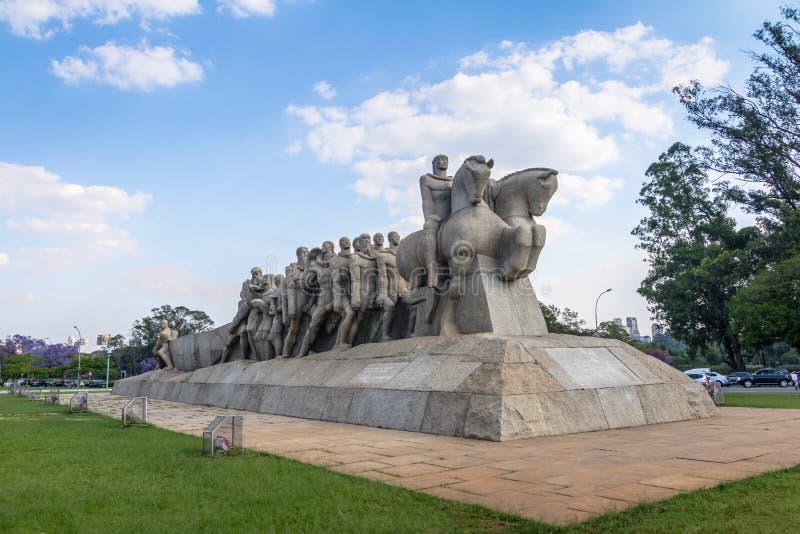 Den Bandeiras monumentet på Ibirapuera parkerar - Sao Paulo, Brasilien arkivbilder