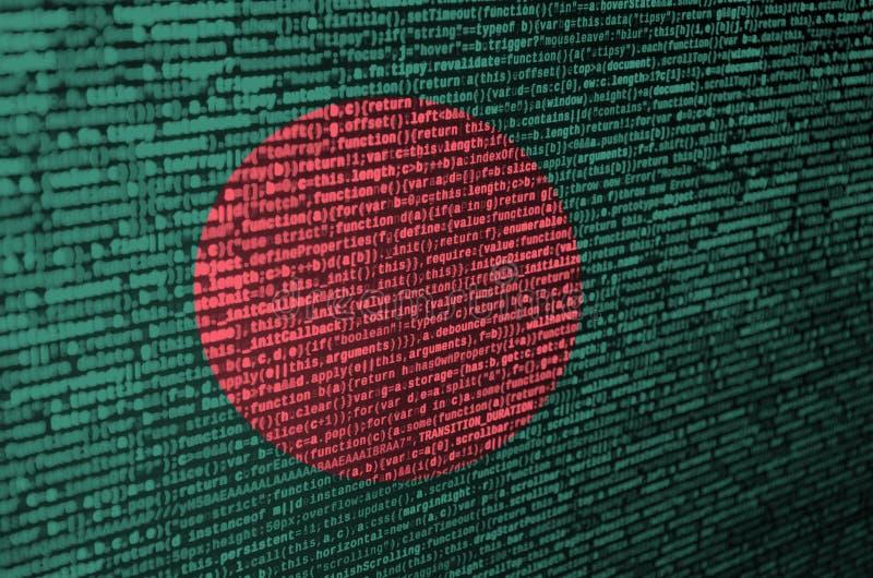 Den Bangladesh flaggan visas på skärmen med programkoden Begreppet av modern teknologi- och platsutveckling royaltyfri foto