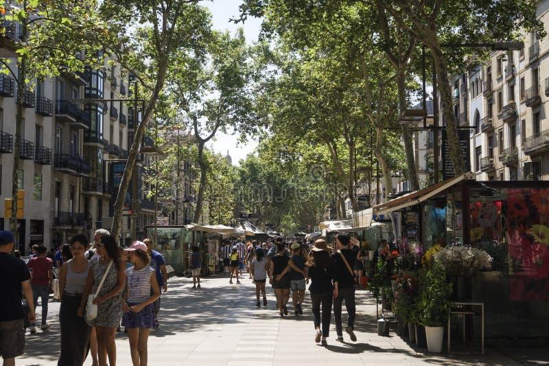Den Barcelona Spanien folkmassan som går på det LaRambla trädet, fodrade område royaltyfri foto