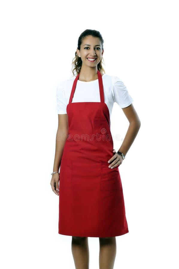 Den Barista kvinnan/lilla shoppar ägareståenden arkivfoto