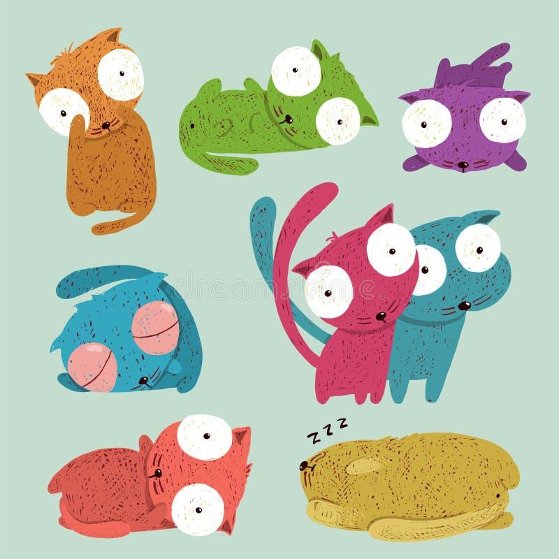 Den barnsliga roliga tecknade filmen lurar kattsamlingen royaltyfri illustrationer