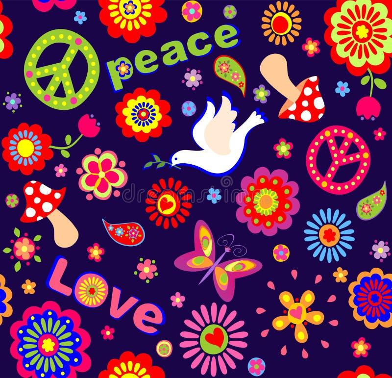 Den barnsliga tapeten med färgrikt abstrakt begrepp blommar, den symboliska hippien, champinjoner och duvan royaltyfri illustrationer