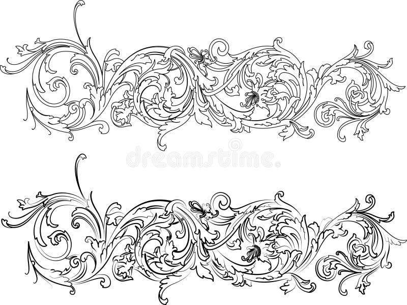 den barocka kanten styles två royaltyfri illustrationer