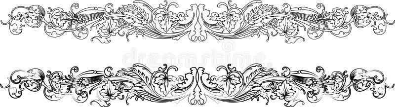 den barocka kanten styles två vektor illustrationer