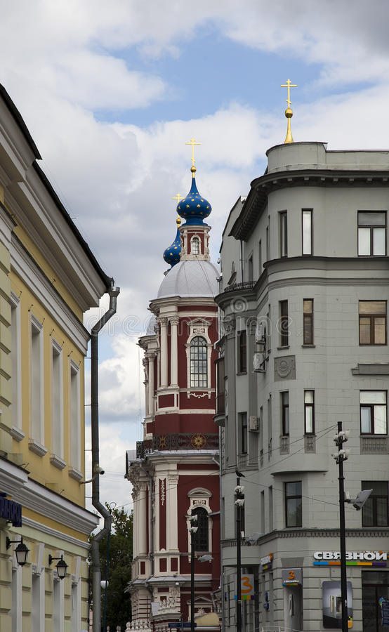 Den barocka kyrkan av St Clement i Moskva, Ryssland royaltyfri foto