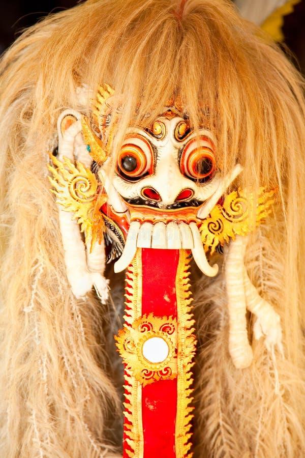 Den Barong dansen maskerar, Bali, Indonesien arkivfoto