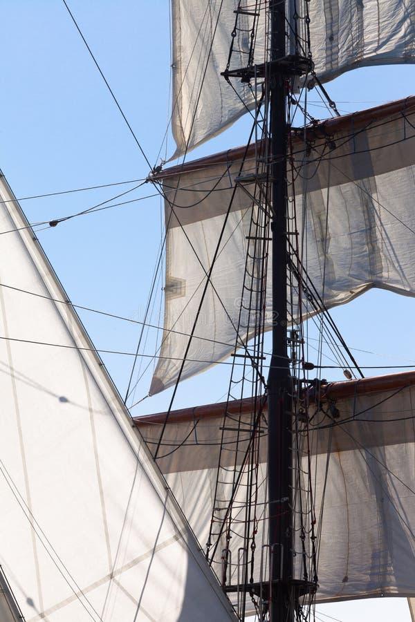 Den Barquentine yachten seglar och riggning arkivfoto