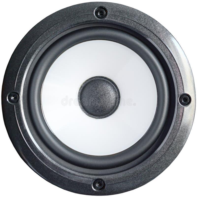 Den bas- yrkesmässiga högtalaren med skruvar, slut isolerade upp på vit bakgrund royaltyfri fotografi