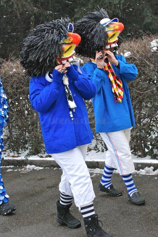 den basel karnevalet maskerar traditionella waggis royaltyfria bilder