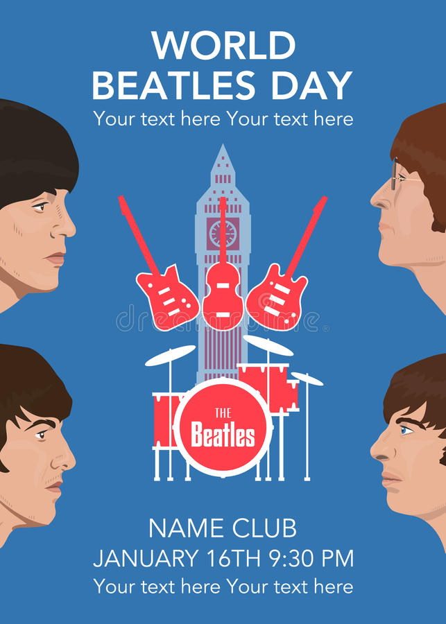 Den Beatles musikbandet vektor illustrationer